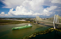 BW Leo oil tanker passing under Fred Hartman Bridge in Port of Houston.