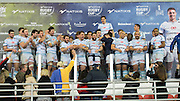 The Racing 92 team on the podium to receive the winners cup following the Natixis Cup rugby match between French team Racing 92 and New Zealand team Otago Highlanders at Sui San Wan Stadium in Hong Kong