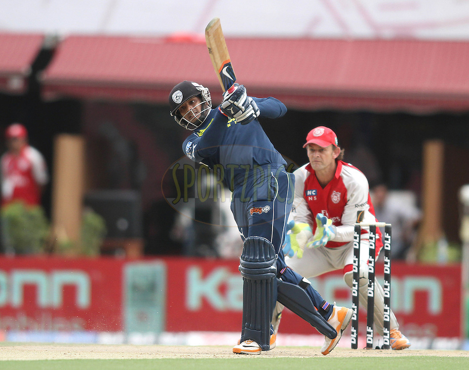 Dwaraka Ravi Teja of the Deccan Chargers attacks a delivery during match 67 of the Indian Premier League ( IPL ) Season 4 between the Kings XI Punjab and the Deccan Chargers held at the The HPCA Stadium in Dharamsala, Himachal Pradesh, India on the 21st May 2011..Photo by Shaun Roy/BCCI/SPORTZPICS