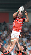 Twickenham, GREAT BRITAIN,  Saracens' Steve BORTHWICK, collect passes the line out ball,  during the Guinness Premiership game, Harlequins vs Saracens, at The Stoop Stadium, Surrey on Sat. 19.09.2009.  [Photo. Peter Spurrier/Intersport-images]