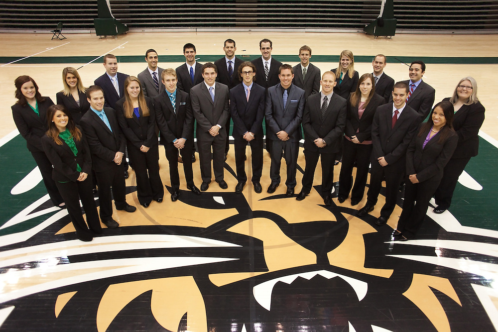 The Ohio University College of Business Department of Sports Administration get their portrait taken in the Convocation Center at Ohio University in Athens, Ohio on Tuesday, December 11, 2012. Photo by Chris Franz