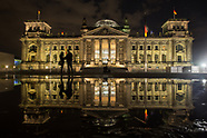 Reichstags building at night