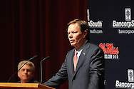 Mike Glenn speaks as new Ole Miss head football coach Hugh Freeze is introduced at a press conference at the Ford Center on campus in Oxford, Miss. on Monday, December 5, 2011.