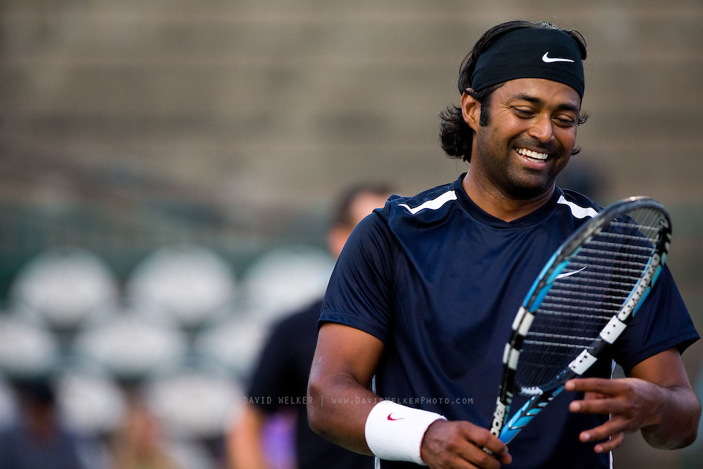 Leander Paes of the Washington Kastles smiles during a match against the Springfield Lasers at Mediacom Stadium on July 11, 2012 in Springfield, Missouri. (David Welker/www.Turfimages.com).
