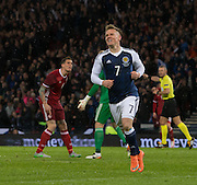 Scotland&rsquo;s Matt Ritchie celebrates his goal as Denmark&rsquo;s Daniel Agger and  keeper Kasper Schmeichel &nbsp;rage at each other over the mix up that led to the goal   - Scotland v Denmark, International challenge match at Hampden Park<br /> <br />  - &copy; David Young - www.davidyoungphoto.co.uk - email: davidyoungphoto@gmail.com