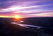 Missouri River at sunset. Missouri River Breaks National Monument, Montana.