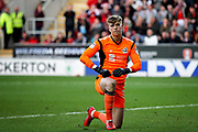 Scunthorpe United's Rory Watson (31) after making a save to keep it 0-0 during the EFL Sky Bet League 1 play off second leg match between Rotherham United and Scunthorpe United at the AESSEAL New York Stadium, Rotherham, England on 16 May 2018. Picture by Nigel Cole.
