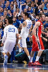 Kentucky forward Derek Willis celebrates a slam in the first half.<br /> <br /> The University of Kentucky hosted the University of Georgia, Tuesday, Feb. 09, 2016 at Rupp Arena in Lexington .