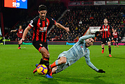 Andrew Surman (6) of AFC Bournemouth challenges Pedro (11) of Chelsea during the Premier League match between Bournemouth and Chelsea at the Vitality Stadium, Bournemouth, England on 30 January 2019.