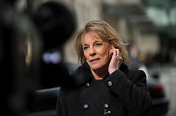 © Licensed to London News Pictures. 25/02/2016. London, UK.  Journalist and television presenter ESTHER RANTZEN  speaking outside BBC Broadcasting House in London where a report in to abuse by DJ Jimmy Savile has been released. The Dame Janet Smith review found that the BBC repeatedly failed to stop abuse by DJ Jimmy Savile and broadcaster Stuart Hall. Photo credit: Ben Cawthra/LNP