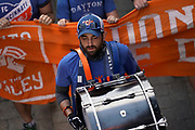 A FC Cincinnati fan marches into Nippert Stadium prior to the MLS soccer game between FC Cincinnati and New England Revolution, Sunday, July 21, 2019, in Cincinnati, OH. The Revolution defeated FC Cincinnati 2-0.(Jason Whitman/Image of Sport)