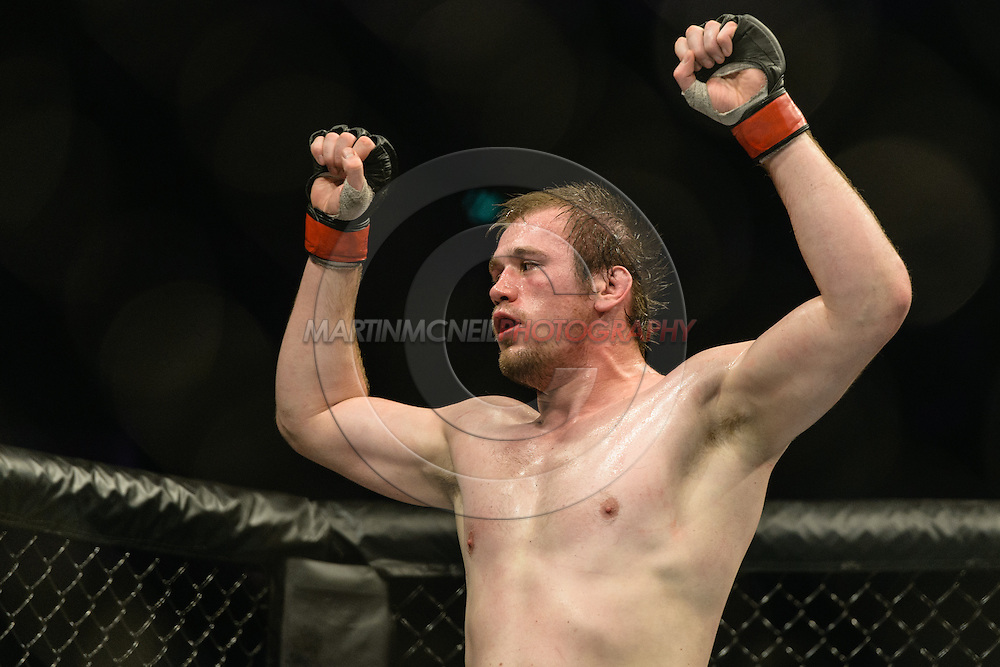 "STOCKHOLM, SWEDEN, JANUARY 24, 2015: Viktor Pesta during ""UFC on Fox 14: Gustafsson vs. Johnson"" inside Tele2 Arena in Stockholm, Sweden"