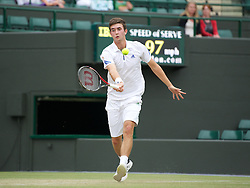 LONDON, ENGLAND - Sunday, July 3, 2011: Geroge Morgan (GBR) in action during the Boys' Doubles Final match on day thirteen of the Wimbledon Lawn Tennis Championships at the All England Lawn Tennis and Croquet Club. (Pic by David Rawcliffe/Propaganda)