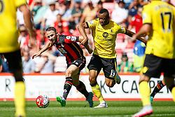 Marc Pugh of AFC Bournemouth under pressure from Jordan Ayew of Aston Villa - Mandatory by-line: Jason Brown/JMP - Mobile 07966 386802 08/08/2015 - FOOTBALL - Bournemouth, Vitality Stadium - AFC Bournemouth v Aston Villa - Barclays Premier League - Season opener