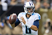 NEW ORLEANS, LA - NOVEMBER 8:  Marcus Mariota #8 of the Tennessee Titans drops back to pass during a game against the New Orleans Saints at Mercedes-Benz Superdome on November 8, 2015 in New Orleans, Louisiana.  The Titans defeated the Saints in overtime 34-28.  (Photo by Wesley Hitt/Getty Images) *** Local Caption *** Marcus Mariota