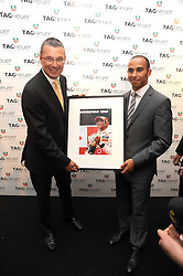Left to right, JEAN-CHRISTOPHE BABIN and LEWIS HAMILTON at the TAG Heuer British Formula 1 Party at the Mall Galleries, London on 15th September 2008.
