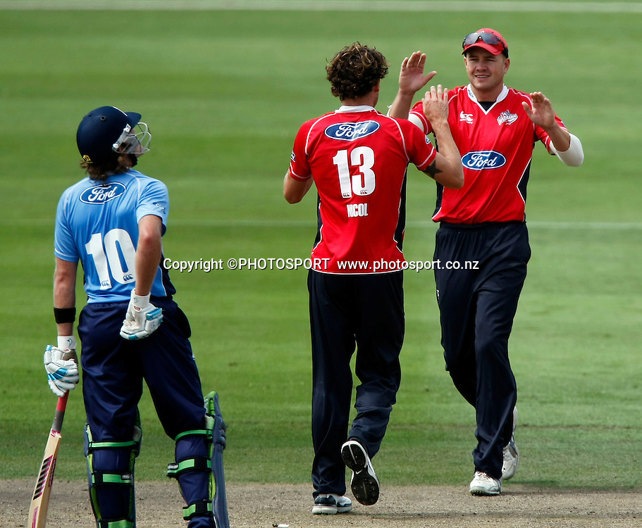 Canterbury bowler Rob Nicol celebrates with Peter Fulton following the wicket of Anaru Kitchen. Canterbury Wizards v Auckland Aces in the One Day Competition Final. QEII Park, Christchurch, New Zealand. Sunday, 13 February 2011. Joseph Johnson / PHOTOSPORT.