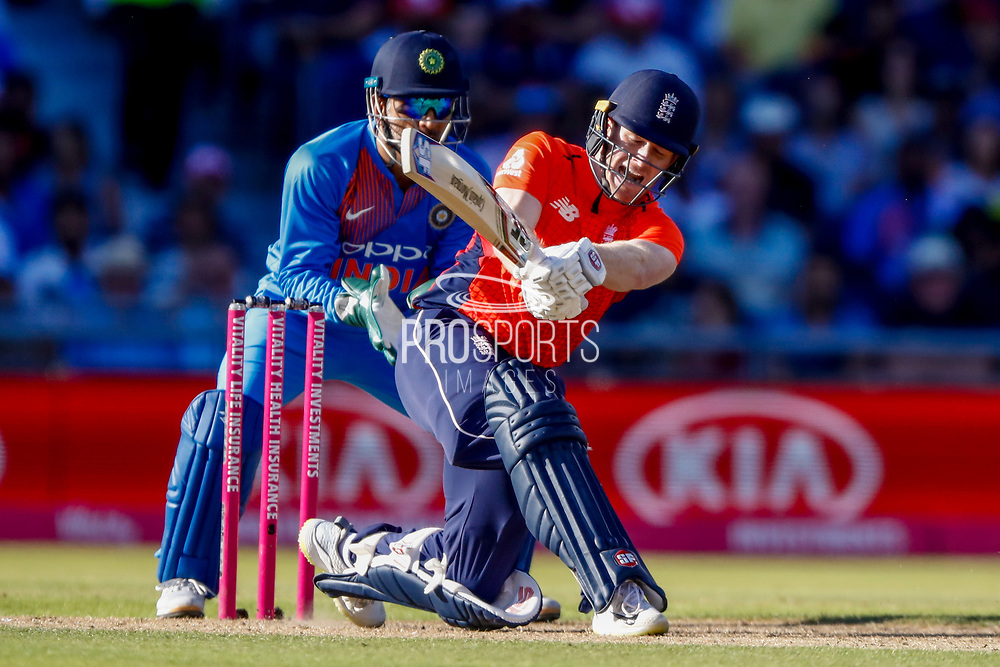 England T20 Captain & Batsman Eoin Morgan is out caught in the deep during the International T20 match between England and India at Old Trafford, Manchester, England on 3 July 2018. Picture by Simon Davies.