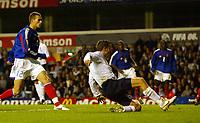 Photo: Chris Ratcliffe.<br /> England v France. U21 European Championships.<br /> 11/11/2005.<br /> Darren Ambrose slides in to score the equaliser