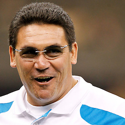 January 1, 2012; New Orleans, LA, USA; Carolina Panthers head coach Ron Rivera prior to kickoff of a game against the New Orleans Saints at the Mercedes-Benz Superdome. Mandatory Credit: Derick E. Hingle-US PRESSWIRE
