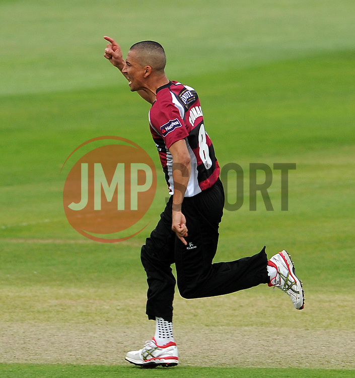 Somerset's Alfonso Thomas celebrates the wicket of Sussex's Chris Nash Photo mandatory by-line: Harry Trump/JMP - Mobile: 07966 386802 - 22/05/15 - SPORT - CRICKET - Natwest T20 Blast - Somerset v Sussex Sharks - The County Ground, Taunton, England.