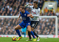 Football - 2016 / 2017 Premier League - Tottenham Hotspur vs. Leicester City<br /> <br /> Daniel Drinkwater of Leicester City holds off Dele Alli of Tottenham at White Hart Lane.<br /> <br /> COLORSPORT/DANIEL BEARHAM