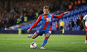 Dwight gayle smashes in Palace's second from the spot during the Capital One Cup match between Crystal Palace and Charlton Athletic at Selhurst Park, London, England on 23 September 2015. Photo by Michael Hulf.