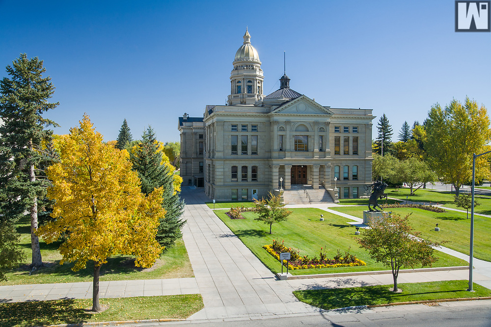 The Wyoming State Capitol during the fall.