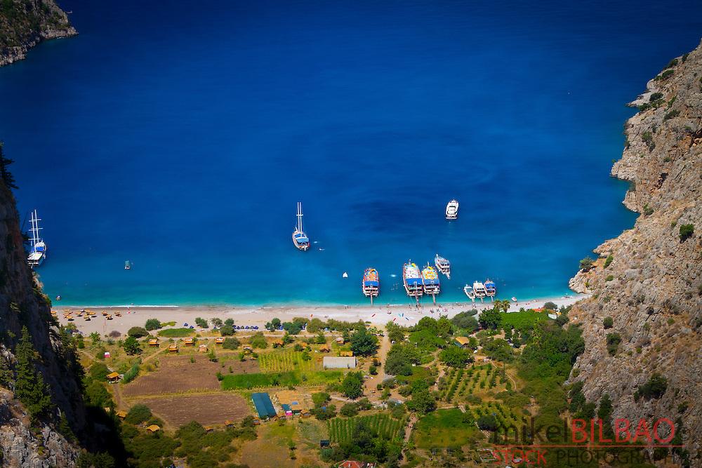 Coastline landscape. Butterfly Valley, Faralya, Lycian Way. Mugla, Mugla province, Aegean coast, Turkey.
