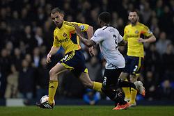 Sunderland's midfielder Lee Cattermole and Tottenham's defender Danny Rose compete for the ball  - Photo mandatory by-line: Mitchell Gunn/JMP - Tel: Mobile: 07966 386802 07/04/2014 - SPORT - FOOTBALL - White Hart Lane - London - Tottenham Hotspur v Sunderland - Premier League