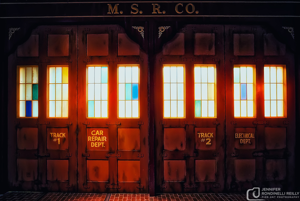 Photo of the Milwaukee Street Railway trolley car garage in the Streets of Old Milwaukee at the Milwaukee County Museum.