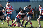 No way through for Brandon Wilkinson (Bradford Bulls) during the Kingstone Press Championship match between Oldham Roughyeds and Bradford Bulls at Bower Fold, Oldham, United Kingdom on 2 April 2017. Photo by Mark P Doherty.