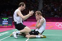 Boe and Morgensen, Denmark, Celebrate winning, Mens Doubles, Semi Finals, Olympic Badminton London Wembley 2012