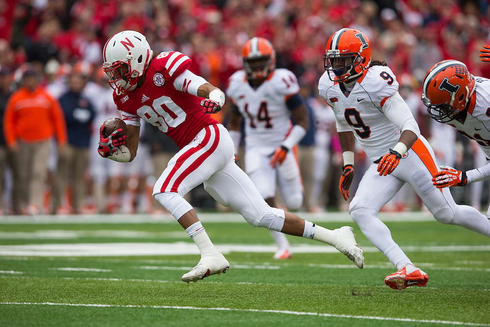 Wide receiver Kenny Bell (80) of the Nebraska Cornhuskers heads for the endzone on a 37-yard touchdown reception from quarterback Tommy Armstrong Jr. (4) during Nebraska's 39-19 win over Illinois on Oct. 5, 2013. Photo by Scott Bruhn