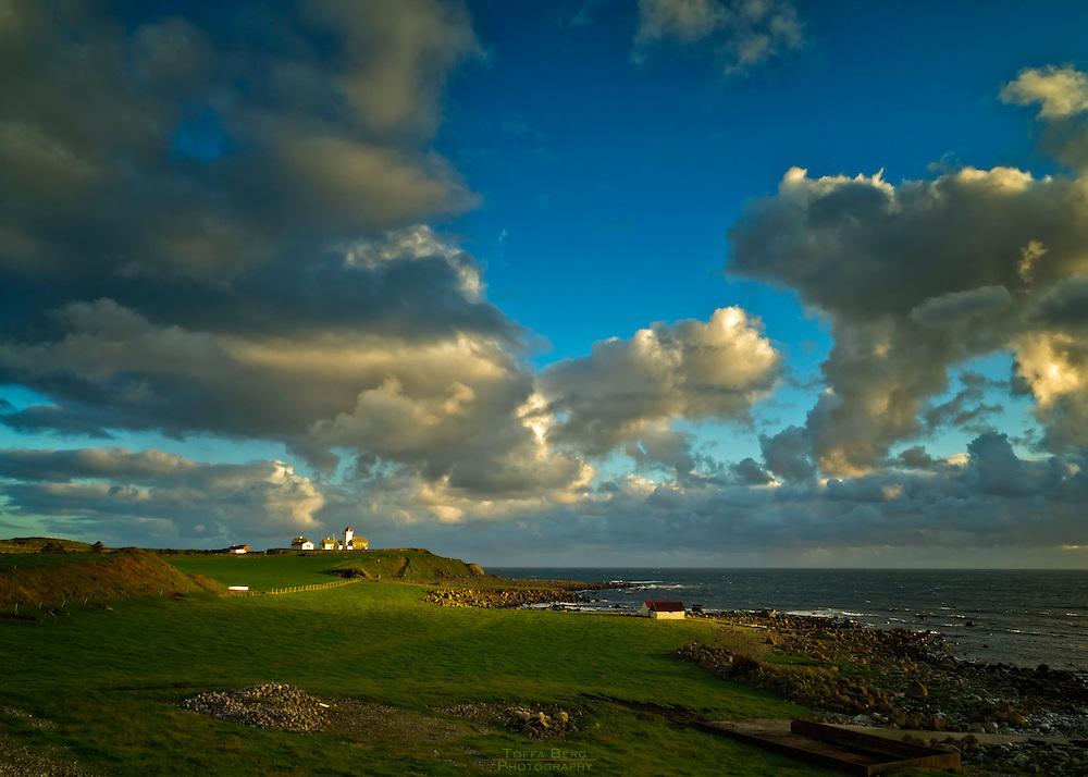 The landscape around Obrestad lighthouse.
