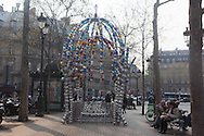 France. Palais. 1st district. Palais Royal subway entrance. Kiosque des noctambules by Jean-Michel Othoniel, a French contemporary realised in 2000 for celebrating the centenary of the parisian subway / entree du metro place du palais royal, oeuvre d'art, Kiosque des noctambules, par Jean-Michel Othoniel, , Paris
