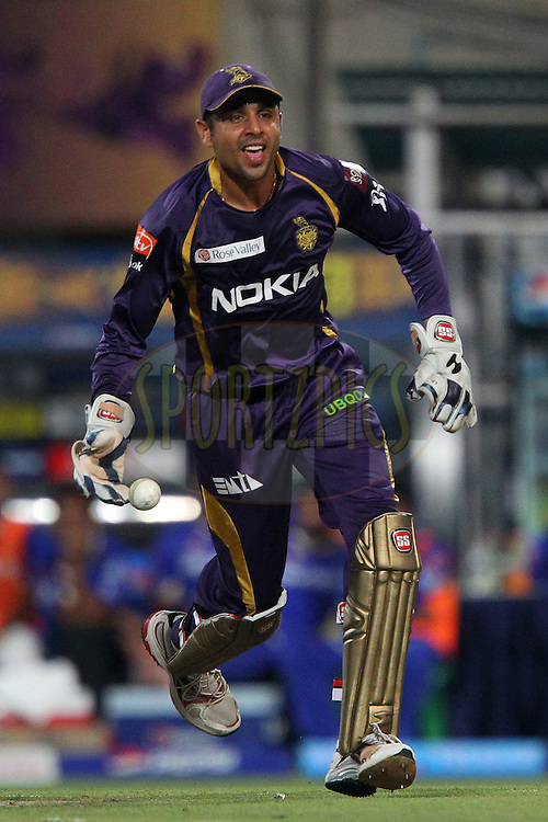 Manvinder Bisla celebrates the wicket of Ajinkya Rahane during match 47 of the Pepsi Indian Premier League between The Kolkata Knight Riders and the Rajasthan Royals held at the Eden Gardens Stadium in Kolkata on the 3rd May 2013..Photo by Ron Gaunt-IPL-SPORTZPICS  ..Use of this image is subject to the terms and conditions as outlined by the BCCI. These terms can be found by following this link:..http://www.sportzpics.co.za/image/I0000SoRagM2cIEc