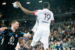 Antonijo Kovacevic #77 of PPD Zagreb and Luc Abalo #19 of Paris Sant-Germain during handball match between PPD Zagreb (CRO) and Paris Saint-Germain (FRA) in 11th Round of Group Phase of EHF Champions League 2015/16, on February 10, 2016 in Arena Zagreb, Zagreb, Croatia. Photo by Urban Urbanc / Sportida