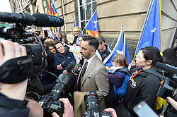 Pictured: Professor Ponseti's lawyer Aamer Anwar outside court prior to her extradition hearing.<br /> <br /> Former Catalan government minister Professor Clara Ponsati appeared in court in Edinburgh, Scotland today, in response to a European arrest warrant issued by the Spanish prosecutors following the disputed Catalan independence referendum last year, which Spain has ruled illegal.<br /> <br /> © Dave Johnston/ EEm