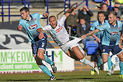 Lois Maynard (Tranmere Rovers) goes down under challenge of Richard Tait (Grimsby Town) but no foul is given during the Vanarama National League match between Tranmere Rovers and Grimsby Town FC at Prenton Park, Birkenhead, England on 30 April 2016. Photo by Mark P Doherty.