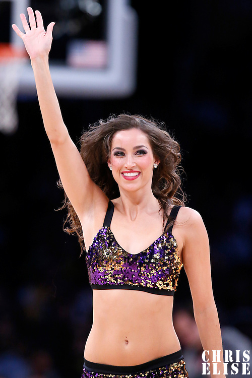 11 February 2014: A Laker Girl is seen during the Utah Jazz 96-79 victory over the Los Angeles Lakers at the Staples Center, Los Angeles, California, USA.