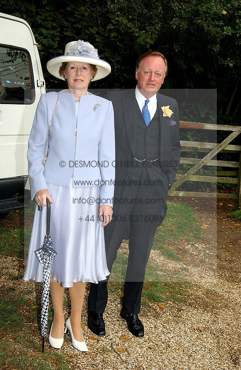 ANDREW PARKER BOWLES former husband of Camilla Parker Bowles and his wife ROSEMARY at the wedding of Tom Parker Bowles to Sara Buys at St.Nicholas Church, Rotherfield Greys, Oxfordshire on 10th September 2005.<br />