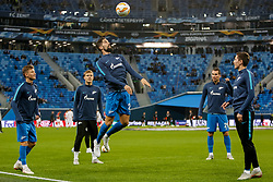 October 4, 2018 - Saint Petersburg, Russia - (L to R) Oleg Shatov, Aleksandr Kokorin, Miha Mevlja, Anton Zabolotny and Daler Kuzyaev of FC Zenit Saint Petersburg in action during warm-up ahead of the Group C match of the UEFA Europa League between FC Zenit Saint Petersburg and SK Slavia Prague at Saint Petersburg Stadium on October 4, 2018 in Saint Petersburg, Russia. (Credit Image: © Mike Kireev/NurPhoto/ZUMA Press)