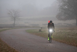 © Licensed to London News Pictures. 30/11/2019. London, UK. A cyclist rides through Richmond Park on a cold and misty morning. Tomorrow is the start of meteorological winter. Photo credit : Tom Nicholson/LNP