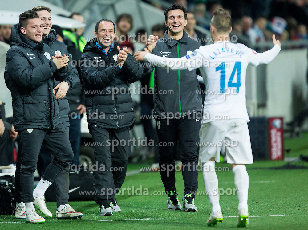 Benjamin Verbic of Slovenia, Rajko Rotman of Slovenia, Tomaz Savnik, … and Dejan Lazarevic of Slovenia celebrate after fifth goal of Slovenia during football match between NationalTeams of Slovenia and San Marino in Round 5 of EURO 2016 Qualifications, on March 27, 2015 in SRC Stozice, Ljubljana, Slovenia. Photo by Vid Ponikvar / Sportida