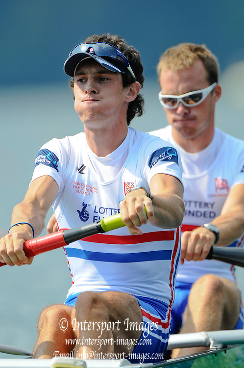 Bled, SLOVENIA. GBR LM2-,  Bow Peter CHAMBERS and Kieran EMERY, 2011 FISA World Rowing Championships, Lake Bled. Wednesday  31/08/2011   [Mandatory Credit; Intersport Images]