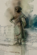 Digitally enhanced image of a Bronze statue of a female salt worker (Salineira) overlooking the canal, Aveiro, Portugal