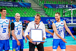 Players of Slovenia celebrate with Metod Ropret, president of OZS, during volleyball match between Cuba and Slovenia in Final of FIVB Volleyball Challenger Cup Men, on July 7, 2019 in Arena Stozice, Ljubljana, Slovenia. Photo by Matic Klansek Velej / Sportida