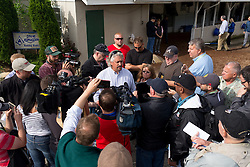 Derby 142 hopeful Gun Runner and Creator's trainer Steve Asmussen spoke to a gaggle of reporters after training, Monday, May 02, 2016 at Churchill Downs in Louisville.