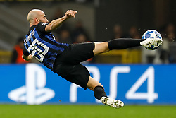 November 7, 2018 - Milan, Italy - Borja Valero of Inter Milan in action during the Group B match of the UEFA Champions League between FC Internazionale and FC Barcelona on November 6, 2018 at San Siro Stadium in Milan, Italy. (Credit Image: © Mike Kireev/NurPhoto via ZUMA Press)